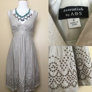 NWT ABS Essentials Linen Metallic Eyelets Dress 8